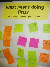 "Image showing consultation board - saying ""What needs doing first?"""